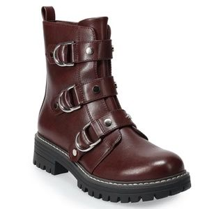 New So Women's Buckle Accent Combat Boots